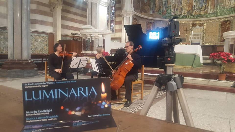 Trio Arcadia di Roma rehearsing for the premiere, St Pauls within the Walls