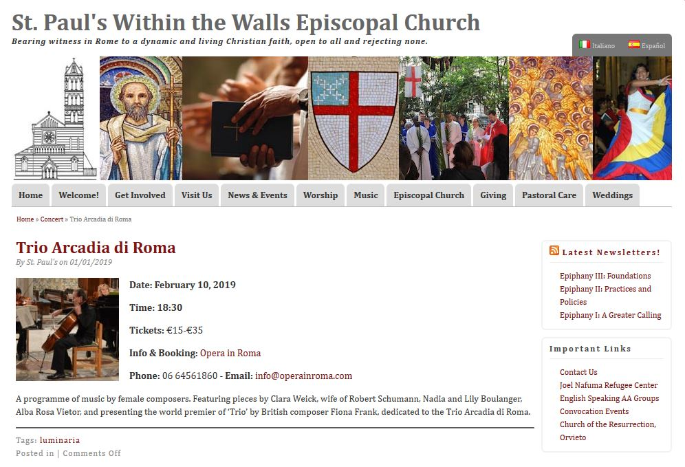 Concert listing for the Premiere Concert, at the website for St Pauls Within the Walls, Rome